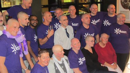 North Devon District Hospital theatre staff shave their heads in aid of the Chemotherapy Appeal. Fro