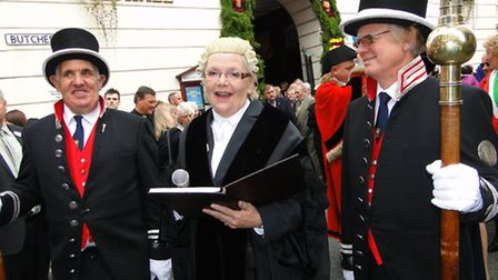 Barnstaple town clerk Anne Jenkins – pictured here reading the proclamation of Barnstaple Fair outsi