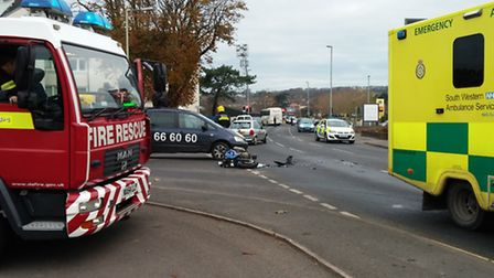 The scene of the collision in Bideford this morning (Mon). Pic: Roger Johnson