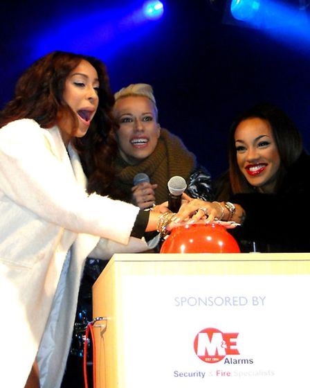 Girl group Stooshe entertain the crowds after switching on the Christmas lights in Barnstaple tonigh