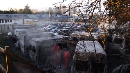 The scene of the fires at Chivenor Business Park this morning.