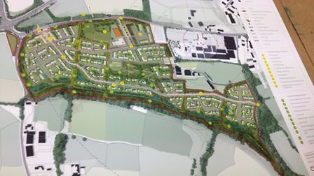 The plans for 600 new homes on display in Atlantic Village on Thursday.