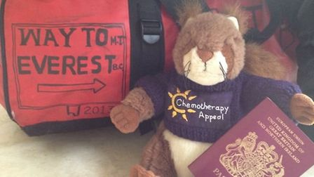 All ready for the off: Cyril prepares for his journey to the Himalayas.