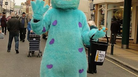 A colourful character fundraising in Barnstaple High Street on Friday.