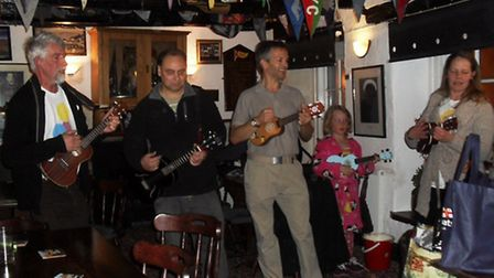 Ilfracombe Ukulele Club members played at pubs, hotels and restaurants around the town on Friday nig