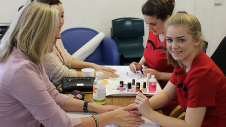 Petroc beauty students offered nail art to staff and students in return for a donation to Children i