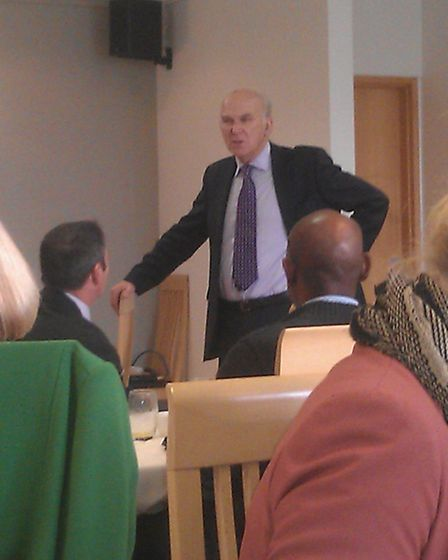 Business Secretary Vince Cable speaks to business leaders at Petroc this morning (Thursday).