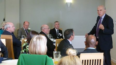 Business Secretary Vince Cable speaks to business leaders at Petroc this morning (Thursday). Photo: