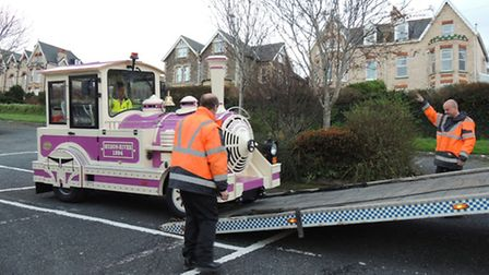 The Dotto land train arrives in Ilfracombe.