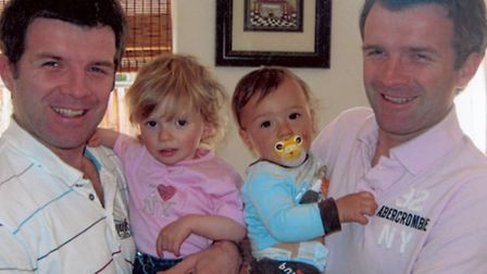 Darren Hedden (left) with daughter Allanah and Wayne Heddon with son William.