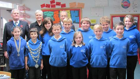 The pupils voted in as councillors for the day, along with Ron Ley and the Mayor Lynda Courtnadge pl