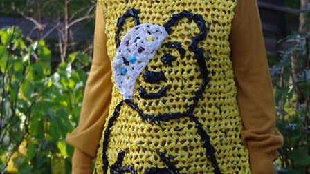 Janet Boddick, from Bideford, modelling her Pudsey creation for Children in Need.
