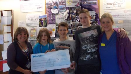 Fund raising officer Julie Whitton, Shay Rowtcliff, Tate Rowtcliff, Liam Levary and Chemotherapy Reg