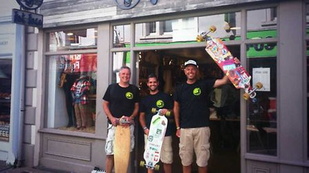 Andy Norman at the end of his skate outside Fat Face in Barnstaple.
