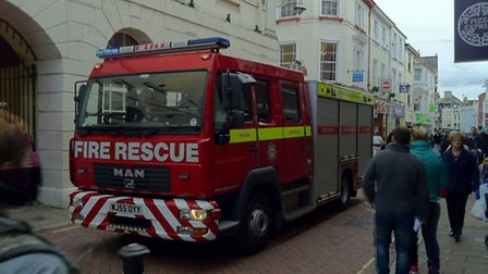 Fire crews attend the emergency shout in Barnstaple High Street. Pic by Andy Casey