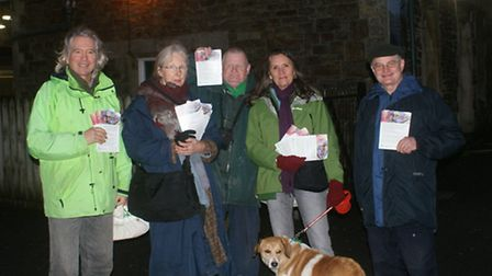 Green Party members were campaigning outside Barnstaple train station on Thursday