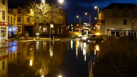 High tides caused flooding in Barnstaple Square earlier this morning.