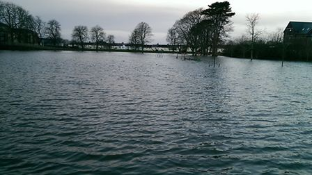 Pilton Park was completely submerged this morning. Pic: James Rattue.