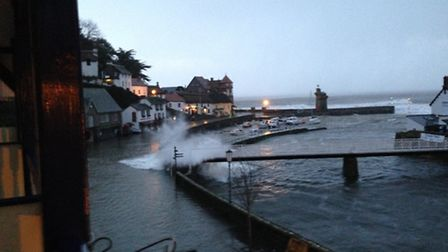 The flooding in Lynmouth this morning. Pic by Hugh Johnson.
