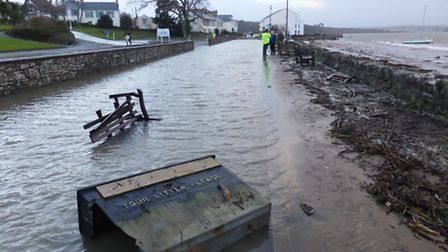 A coastal surge flooded Marine Parade and caused a wall to collapse in Instow.