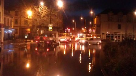 The Square in Barnstaple has been closed due to flooding.