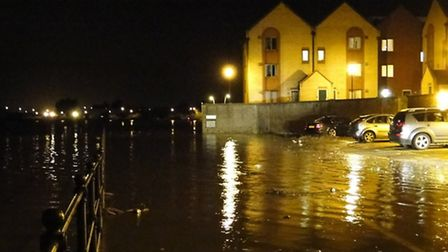Some car owners cut it a little fine during high tide at Castle Quay in Barnstaple tonight (Thursday