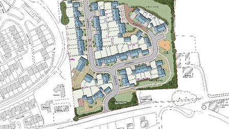 A map of the proposed Wainhomes development off Goodleigh Road, to the north of Gorwell in Barnstapl