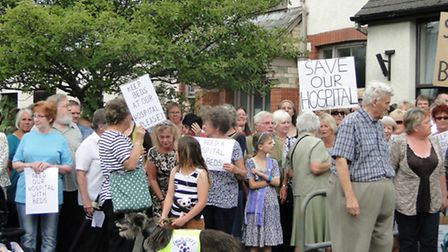 Residents protesting over Torrington Hospital bed closures earlier this year.