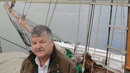 Steve Clarke OBE, pictured with the Kathleen & May before it left Bideford for good in May 2011.