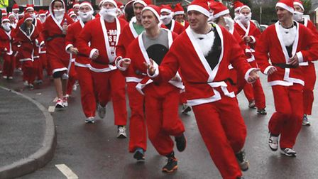 And they're off! The North Devon Santa Fun Run gets underway. Picture: Brian Saunders.