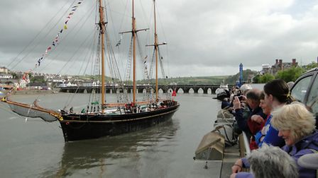 The Kathleen & May, Mr Clarke's pride and joy, leaving Bideford for the last time in May 2011.