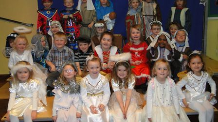 The reception class at Our Lady's Catholic Primary School in Barnstaple gather for a Nativity pictur