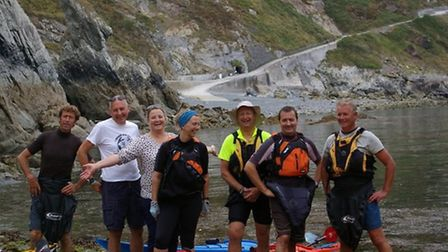 The intrepid team pictured together on Lundy Island.