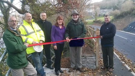 Pictured at the official opening of the new safe stretch of coast path are Martin Caddy of North Dev