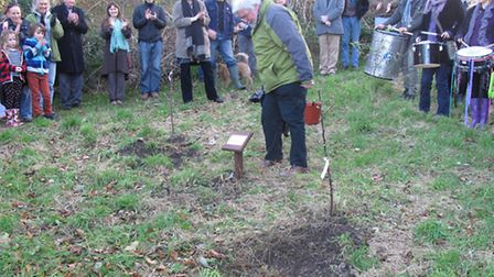 Frank Pearson plants the trees in memory of Tim while friends and well wishers look on.