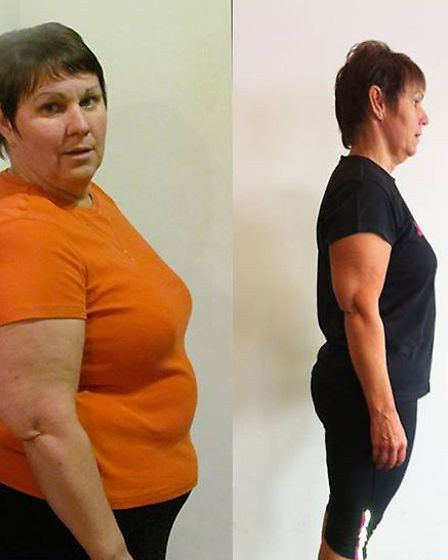 This photo shows Janice's weight loss of 42lbs over over the last challenge.
