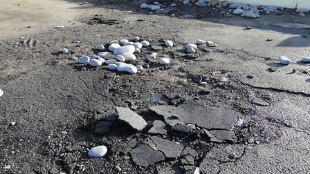 Areas of tarmac along the promenade have been ripped up.