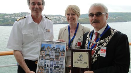 Images from the 2011 visit by cruise liner MS Prinsendam. Captain Tim Roberts welcomed the then Mayo