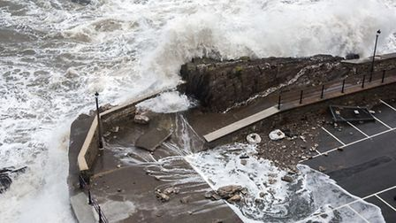 The high tides caused part of the sea wall in Ilfracombe to be damaged. Pic: Andrew Pettey.