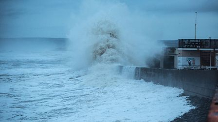 Crowds gather to see the high tides in Westward Ho! Pic: Richard Murgatroyd.