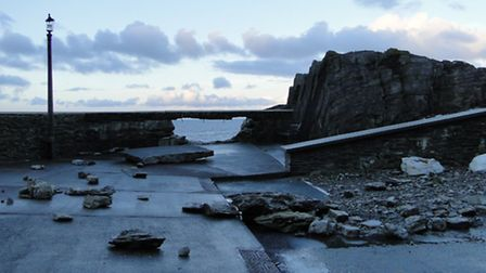The high tides caused more damage to the sea wall behind the Landmark Theatre in Ilfracombe.