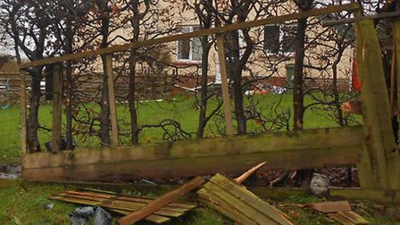 The damage to the garden fence after a car collided with it at Northam. Picture: Tidy Eye.