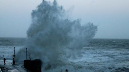 Coastal communities have so far been spared the worst battering of Hercules 2, unlike this scene fro