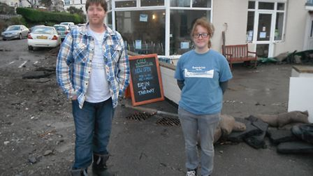 Beachside Cafe owners Alex Campbell and Kim Hitchins praised the community spirit that helped to spa