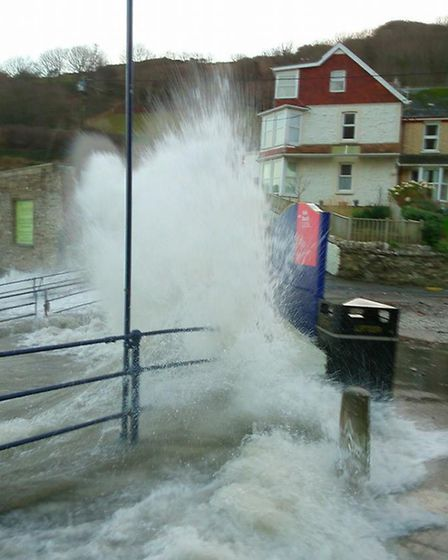 The high tides at Hele Bay on Sunday morning. Picture: Jay Joachim.