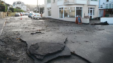 The sea front at Hele Bay took a pounding.