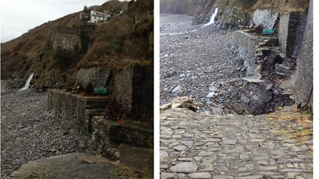 The Bucks Mills slipway before (left) and after the storm. Pic: Hannah Mault.