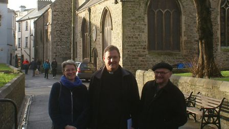Father David Fletcher (middle) with Churchwardens Catherine Hart (left) and Jeremy Taylor (right) ha