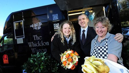 Cheryl Dimelow, NatWest's Richard Stainsby and Heather Dennis show off The Whiddon Wagon at a weddin