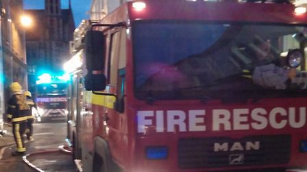 Fire fighters in Allhalland Street, Bideford on Wednesday night. Pic: Roger Johnson.